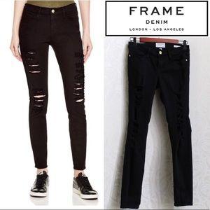 FRAME Denim black distressed skinny jeans stretchy